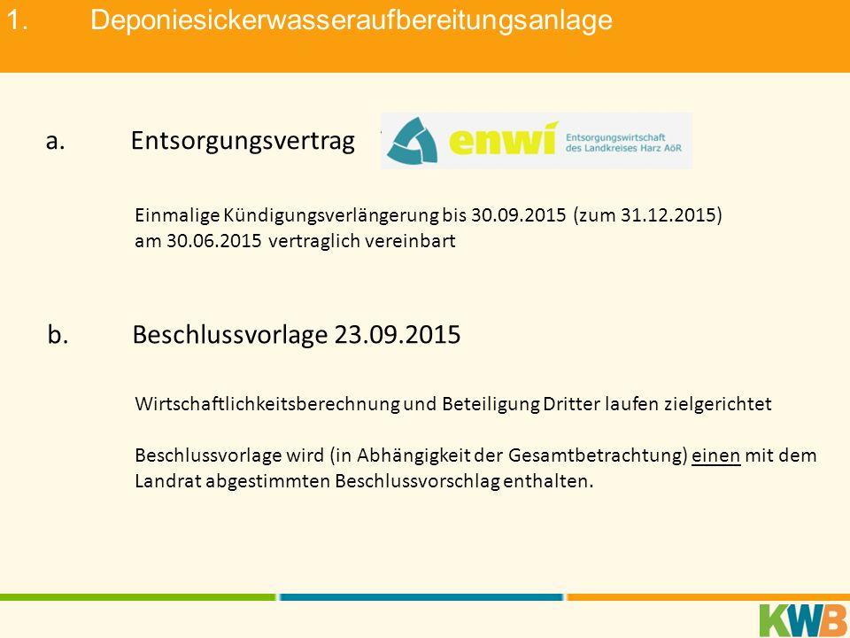 1.Deponiesickerwasseraufbereitungsanlage a.Entsorgungsvertrag Einmalige Kündigungsverlängerung bis 30.09.2015 (zum 31.12.2015) am 30.06.2015 vertragli