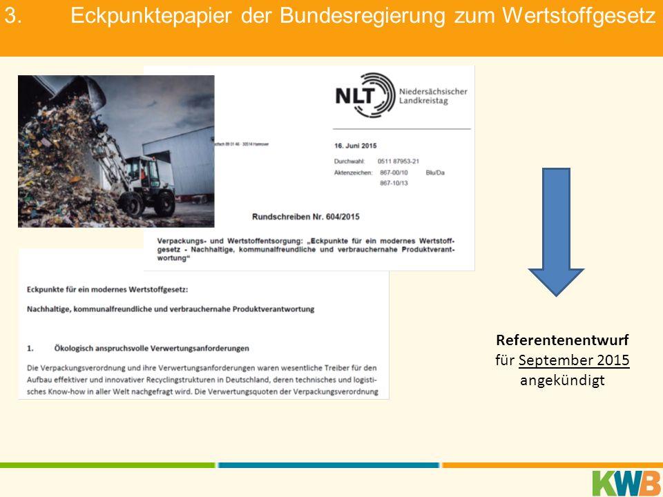 3.Eckpunktepapier der Bundesregierung zum Wertstoffgesetz Referentenentwurf für September 2015 angekündigt