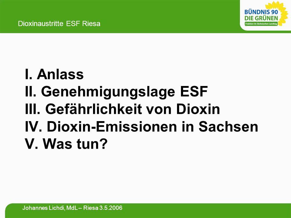 I. Anlass II. Genehmigungslage ESF III. Gefährlichkeit von Dioxin IV. Dioxin-Emissionen in Sachsen V. Was tun? Dioxinaustritte ESF Riesa Johannes Lich