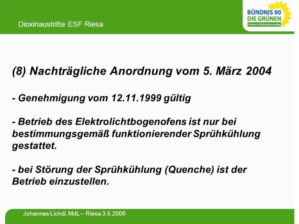 (8) Nachträgliche Anordnung vom 5. März 2004 - Genehmigung vom 12.11.1999 gültig - Betrieb des Elektrolichtbogenofens ist nur bei bestimmungsgemäß fun