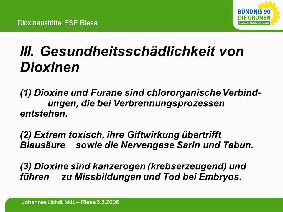 III. Gesundheitsschädlichkeit von Dioxinen (1) Dioxine und Furane sind chlororganische Verbind- ungen, die bei Verbrennungsprozessen entstehen. (2) Ex