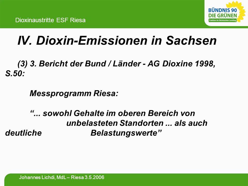 """IV. Dioxin-Emissionen in Sachsen (3) 3. Bericht der Bund / Länder - AG Dioxine 1998, S.50: Messprogramm Riesa: """"... sowohl Gehalte im oberen Bereich v"""