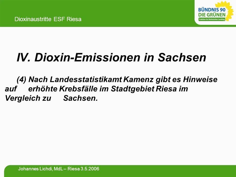 IV. Dioxin-Emissionen in Sachsen (4) Nach Landesstatistikamt Kamenz gibt es Hinweise auf erhöhte Krebsfälle im Stadtgebiet Riesa im Vergleich zu Sachs