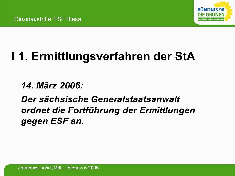 I 1. Ermittlungsverfahren der StA 14. März 2006: Der sächsische Generalstaatsanwalt ordnet die Fortführung der Ermittlungen gegen ESF an. Dioxinaustri