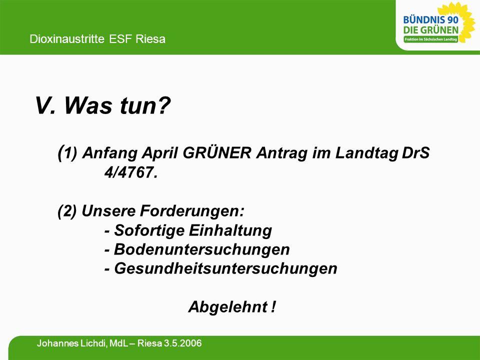 V. Was tun? ( 1) Anfang April GRÜNER Antrag im Landtag DrS 4/4767. (2) Unsere Forderungen: - Sofortige Einhaltung - Bodenuntersuchungen - Gesundheitsu