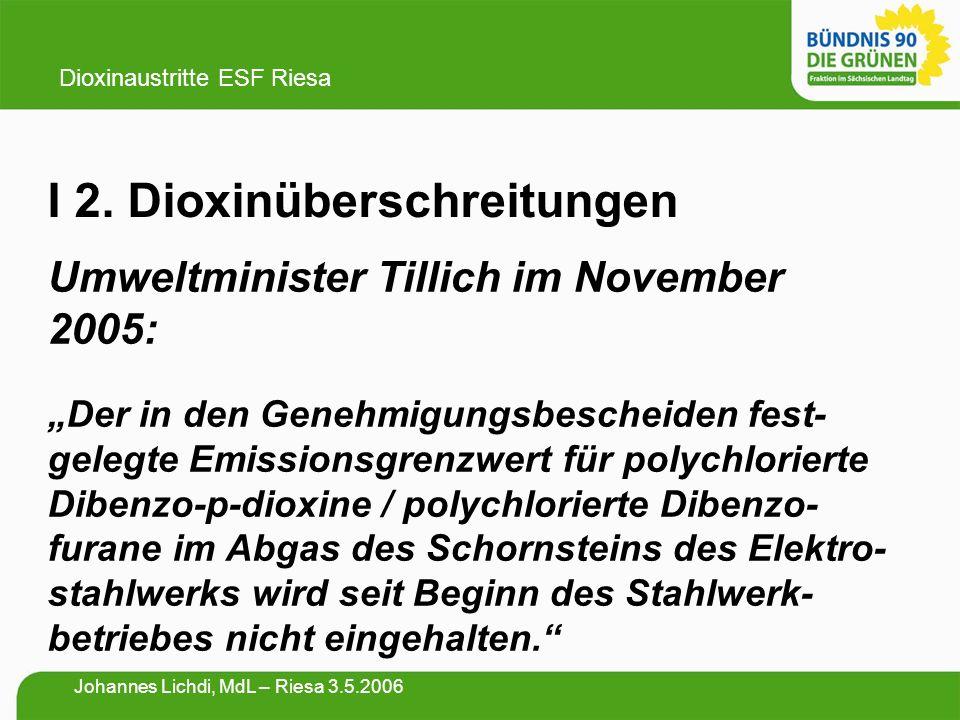 """I 2. Dioxinüberschreitungen Umweltminister Tillich im November 2005: """"Der in den Genehmigungsbescheiden fest- gelegte Emissionsgrenzwert für polychlor"""