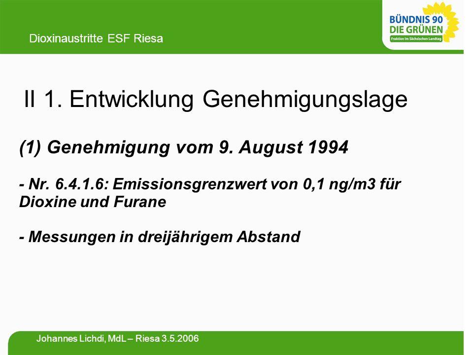 II 1. Entwicklung Genehmigungslage (1) Genehmigung vom 9. August 1994 - Nr. 6.4.1.6: Emissionsgrenzwert von 0,1 ng/m3 für Dioxine und Furane - Messung