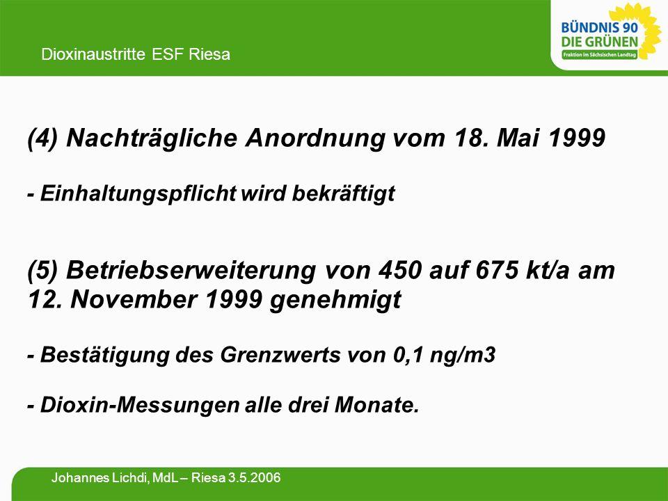 (4) Nachträgliche Anordnung vom 18. Mai 1999 - Einhaltungspflicht wird bekräftigt (5) Betriebserweiterung von 450 auf 675 kt/a am 12. November 1999 ge