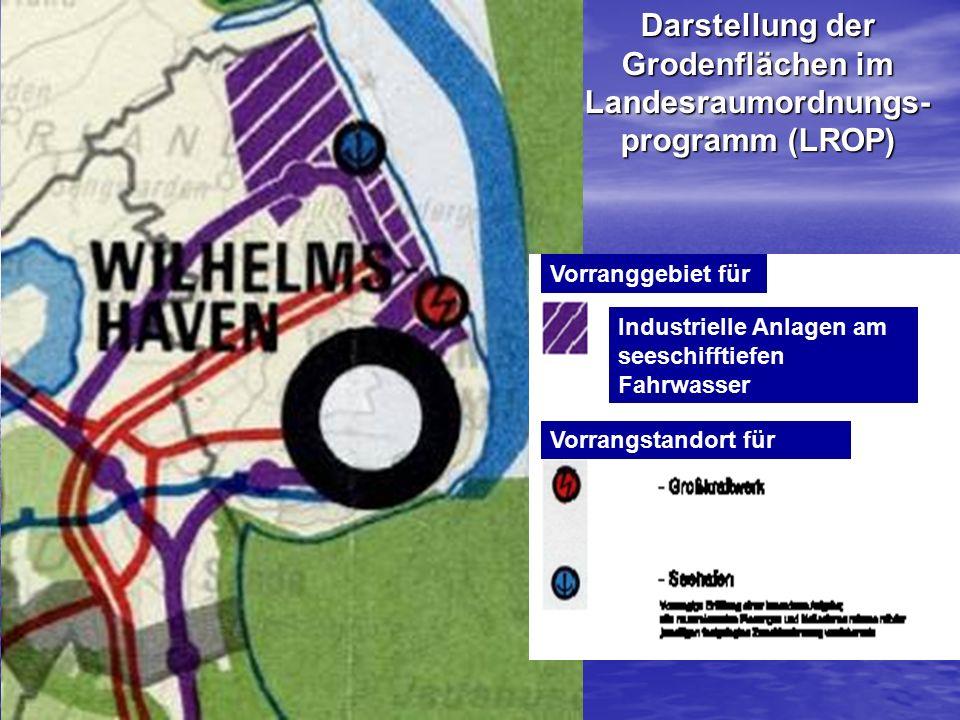 Industrielle Anlagen am seeschifftiefen Fahrwasser Vorranggebiet für Vorrangstandort für Darstellung der Grodenflächen im Landesraumordnungs- programm (LROP)