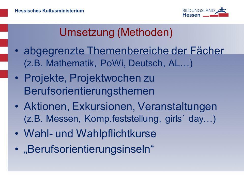 Umsetzung (Methoden) abgegrenzte Themenbereiche der Fächer (z.B. Mathematik, PoWi, Deutsch, AL…) Projekte, Projektwochen zu Berufsorientierungsthemen