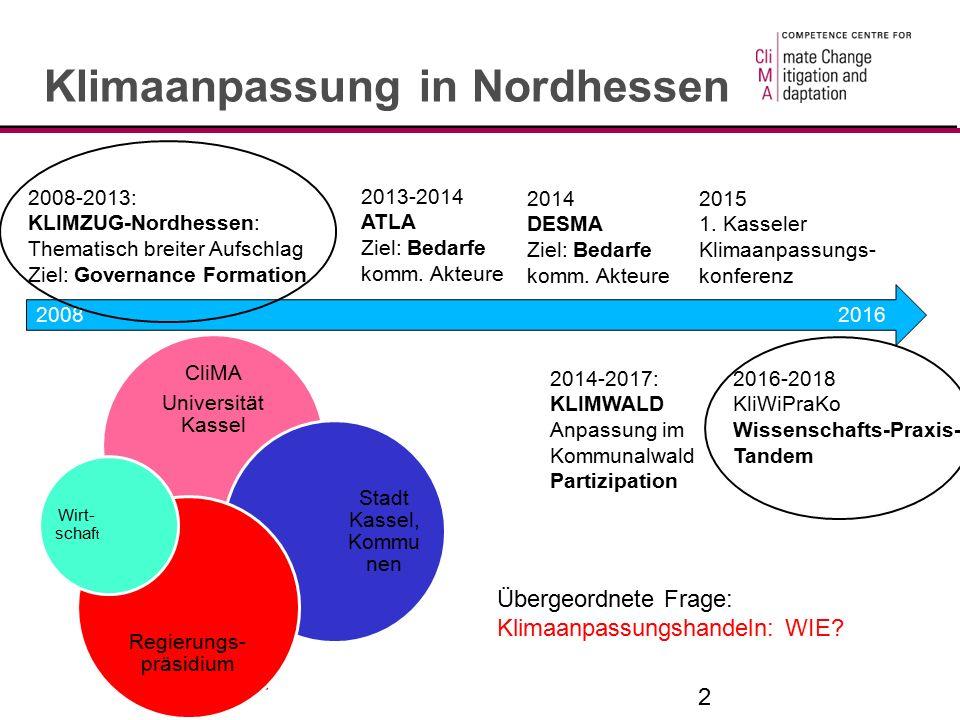 2 Klimaanpassung in Nordhessen 2008 2016 2008-2013: KLIMZUG-Nordhessen: Thematisch breiter Aufschlag Ziel: Governance Formation 2013-2014 ATLA Ziel: Bedarfe komm.