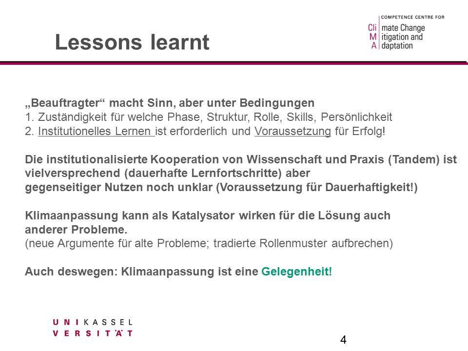 "4 Lessons learnt ""Beauftragter macht Sinn, aber unter Bedingungen 1."