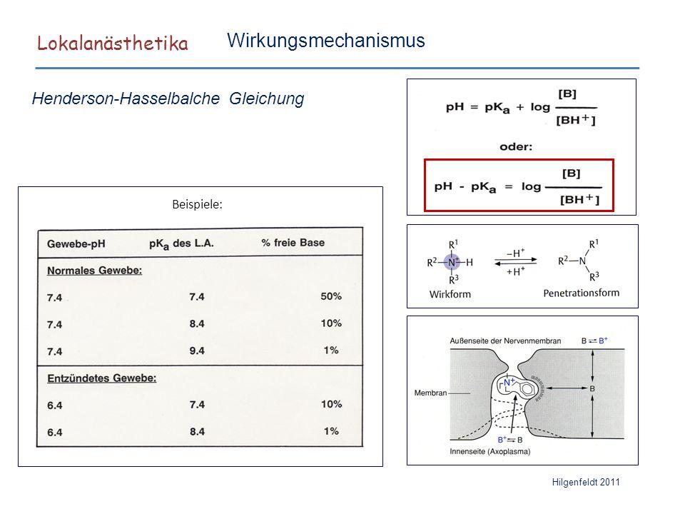 Lokalanästhetika Hilgenfeldt 2011 Beispiele: Henderson-Hasselbalche Gleichung Wirkungsmechanismus