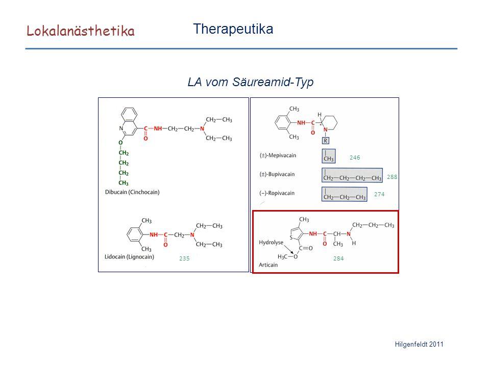 Lokalanästhetika Hilgenfeldt 2011 Therapeutika LA vom Säureamid-Typ 235 246 288 274 284