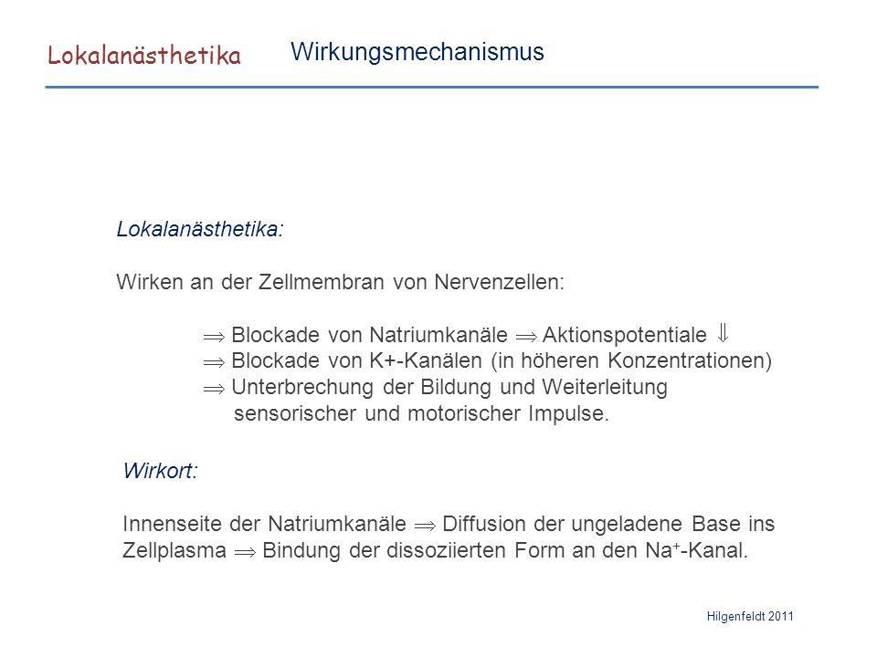 Lokalanästhetika Hilgenfeldt 2011 Wirkungsmechanismus Lokalanästhetika: Wirken an der Zellmembran von Nervenzellen:  Blockade von Natriumkanäle  Akt