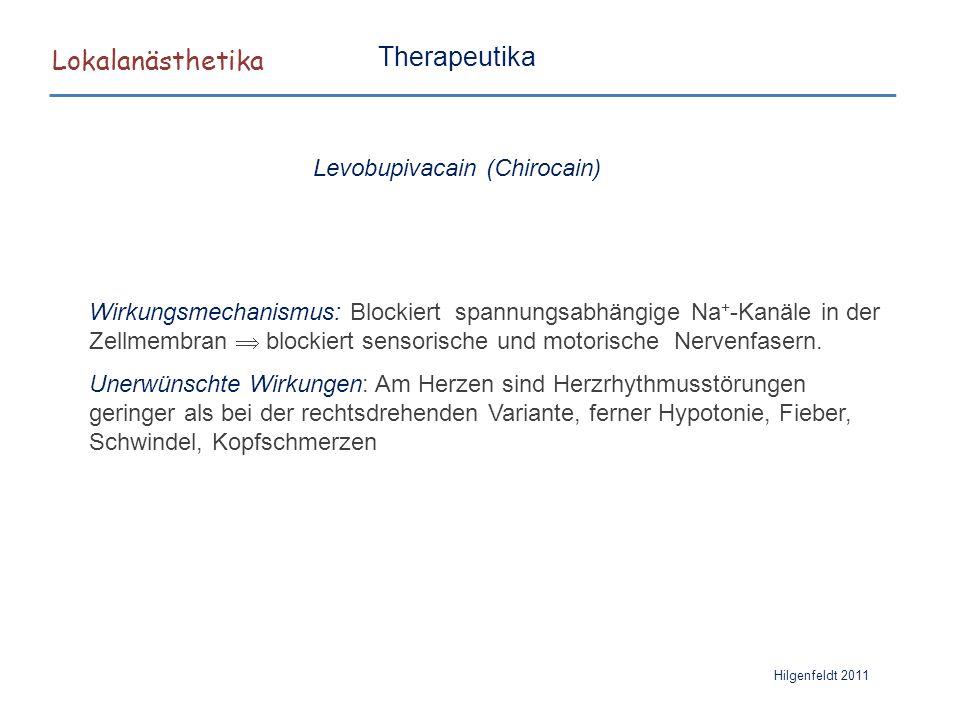 Lokalanästhetika Hilgenfeldt 2011 Therapeutika Wirkungsmechanismus: Blockiert spannungsabhängige Na + -Kanäle in der Zellmembran  blockiert sensorisc