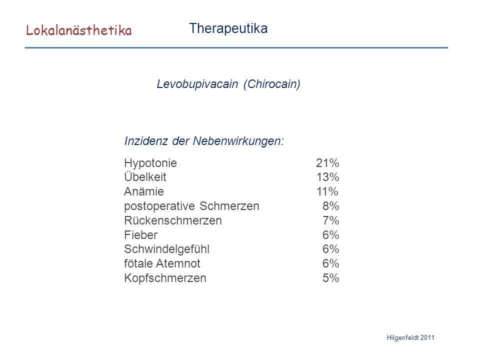 Lokalanästhetika Hilgenfeldt 2011 Therapeutika Inzidenz der Nebenwirkungen: Hypotonie21% Übelkeit13% Anämie11% postoperative Schmerzen 8% Rückenschmer