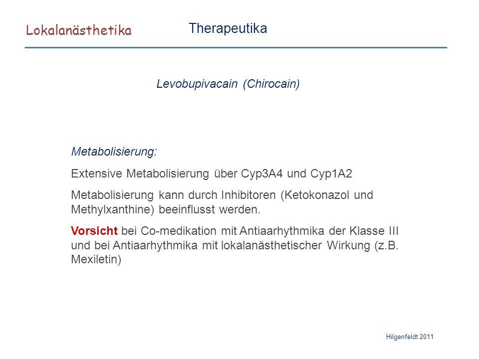 Lokalanästhetika Hilgenfeldt 2011 Therapeutika Metabolisierung: Extensive Metabolisierung über Cyp3A4 und Cyp1A2 Metabolisierung kann durch Inhibitore