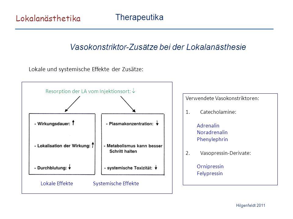 Lokalanästhetika Hilgenfeldt 2011 Therapeutika Vasokonstriktor-Zusätze bei der Lokalanästhesie Lokale und systemische Effekte der Zusätze: Resorption