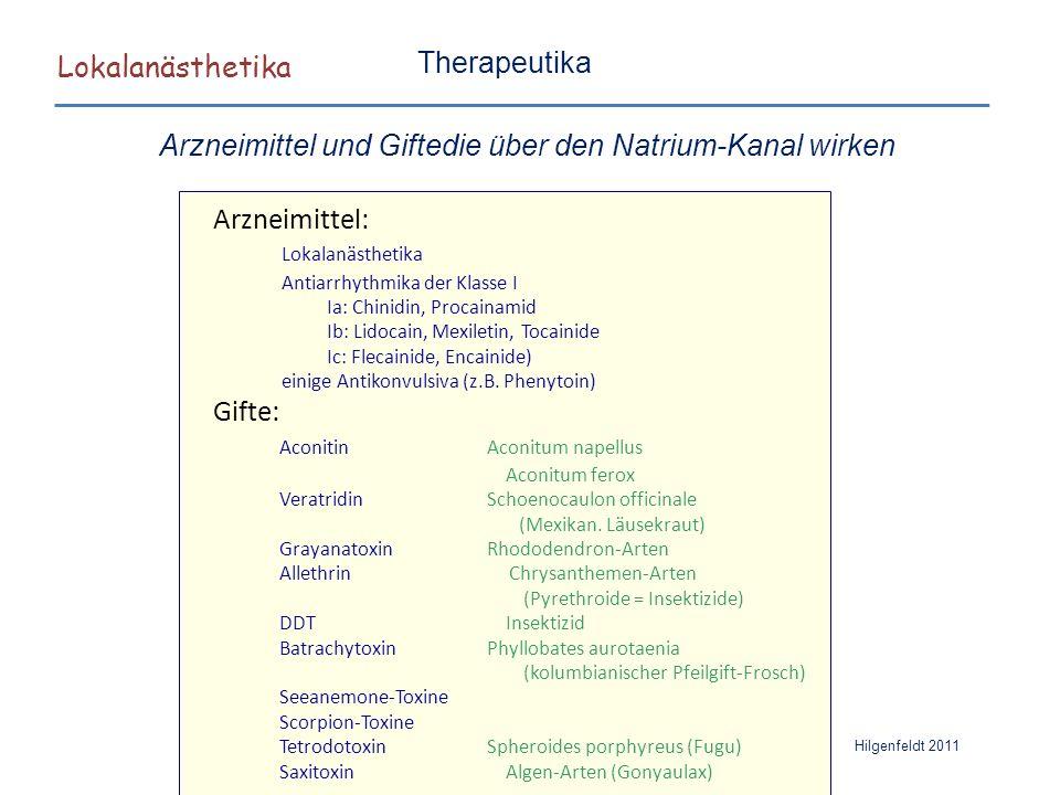 Lokalanästhetika Hilgenfeldt 2011 Therapeutika Arzneimittel und Giftedie über den Natrium-Kanal wirken Arzneimittel: Lokalanästhetika Antiarrhythmika