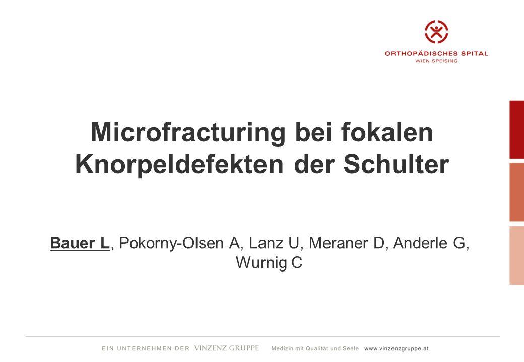 Microfracturing bei fokalen Knorpeldefekten der Schulter Bauer L, Pokorny-Olsen A, Lanz U, Meraner D, Anderle G, Wurnig C