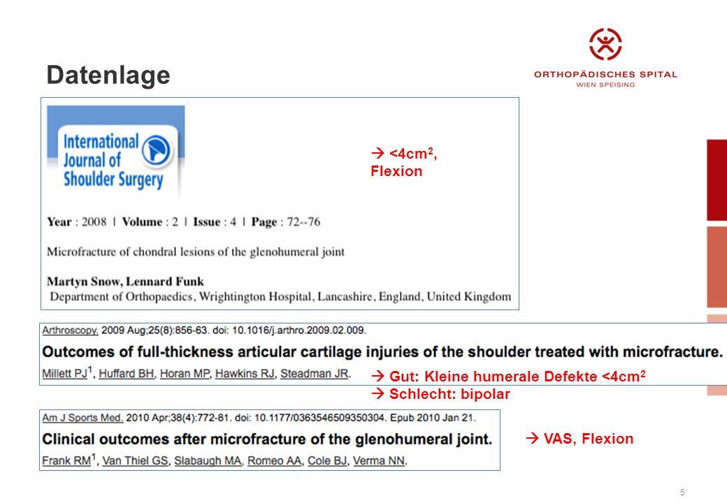 5  <4cm 2, Flexion  VAS, Flexion  Gut: Kleine humerale Defekte <4cm 2  Schlecht: bipolar