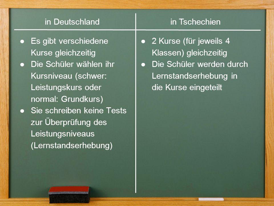 ●Es gibt zwei Kurse gleichzeitig für jeweils 4 Klassen ●Die Schüler werden nach Lernstandserhebung in die Englischkurse eingeteilt (keine Leistungskurse) in Deutschlandin Tschechien ●Es gibt verschiedene Kurse gleichzeitig ●Die Schüler wählen ihr Kursniveau (schwer: Leistungskurs oder normal: Grundkurs) ●Sie schreiben keine Tests zur Überprüfung des Leistungsniveaus (Lernstandserhebung) ●2 Kurse (für jeweils 4 Klassen) gleichzeitig ●Die Schüler werden durch Lernstandserhebung in die Kurse eingeteilt in Tschechienin Deutschland