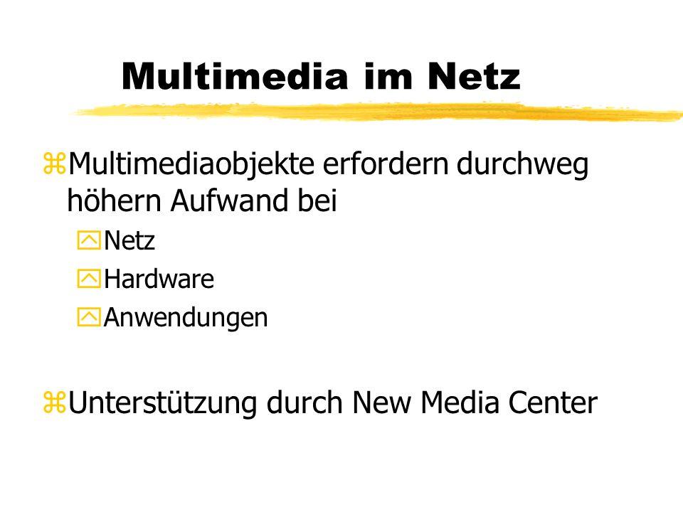 Multimedia im Netz zMultimediaobjekte erfordern durchweg höhern Aufwand bei yNetz yHardware yAnwendungen zUnterstützung durch New Media Center