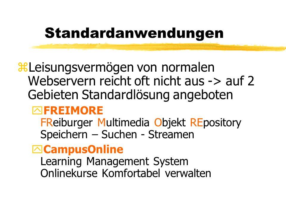 Standardanwendungen zLeisungsvermögen von normalen Webservern reicht oft nicht aus -> auf 2 Gebieten Standardlösung angeboten yFREIMORE FReiburger Mul