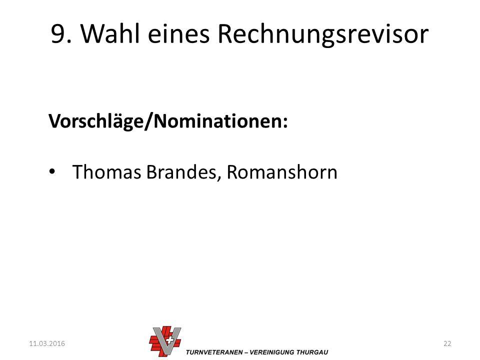 9. Wahl eines Rechnungsrevisor 11.03.201622 Vorschläge/Nominationen: Thomas Brandes, Romanshorn