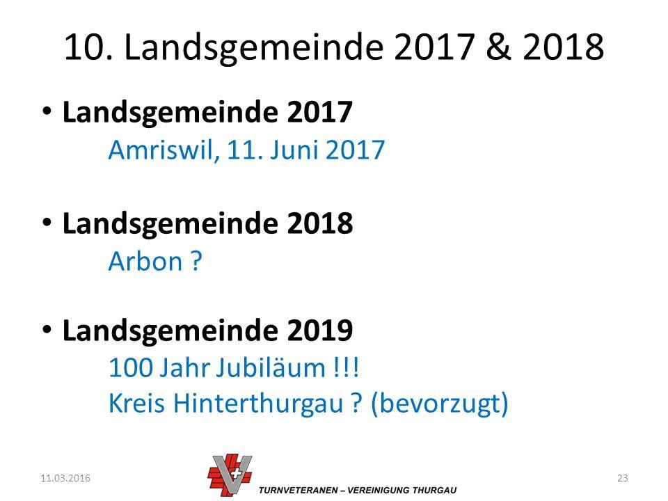 10. Landsgemeinde 2017 & 2018 11.03.201623 Landsgemeinde 2017 Amriswil, 11.