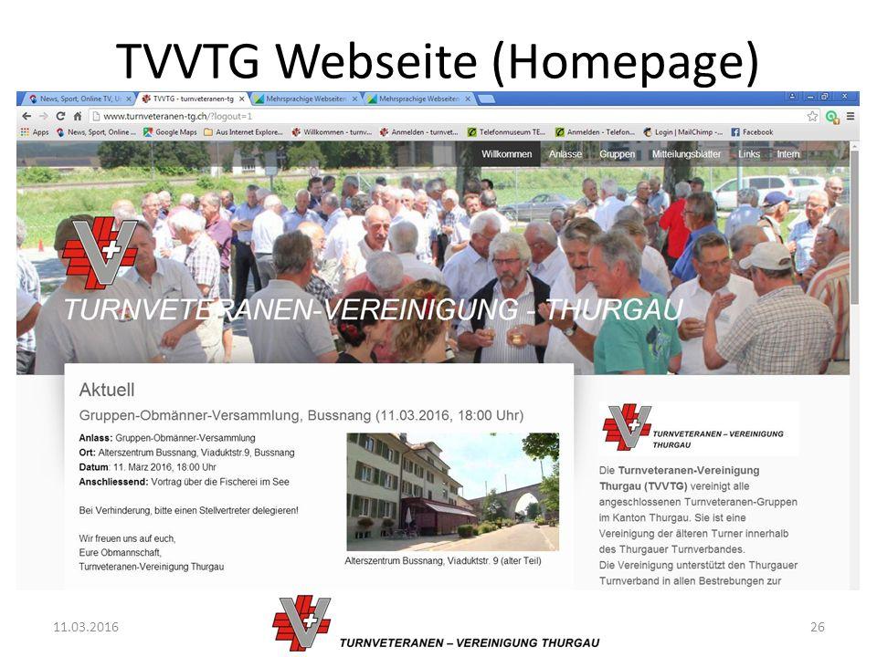 TVVTG Webseite (Homepage) 11.03.201626
