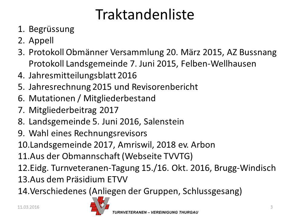 Traktandenliste 11.03.20163 1.Begrüssung 2.Appell 3.Protokoll Obmänner Versammlung 20.