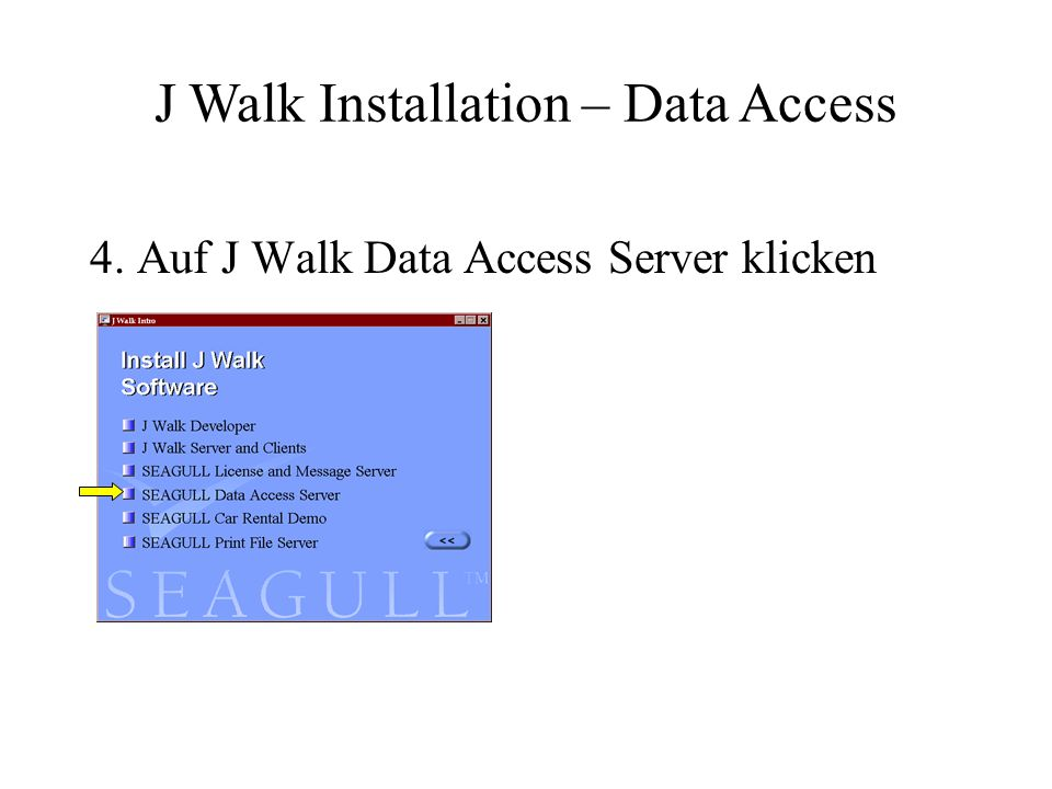 5. Warten bis das Setup gestartet wird.. J Walk Installation – Data Access