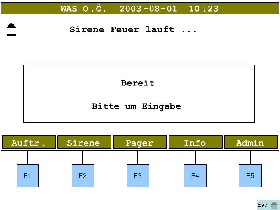 Bild 1 Feuer AdminInfoPagerAuftr.Sirene WAS O.Ö.2003-08-01 10:23 Bereit Bitte um Eingabe F1F2F3F4F5 Esc Sirene Feuer läuft...