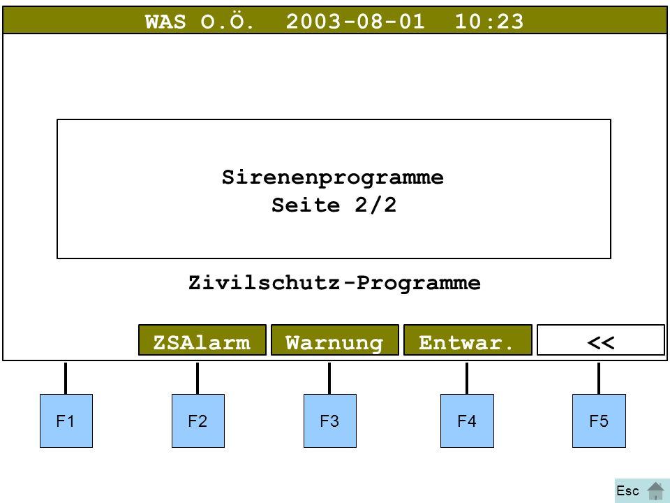Bild 13 F1F2F3F4F5 <<Entwar.WarnungZSAlarm WAS O.Ö.2003-08-01 10:23 Sirenenprogramme Seite2/2 Zivilschutz-Programme Esc