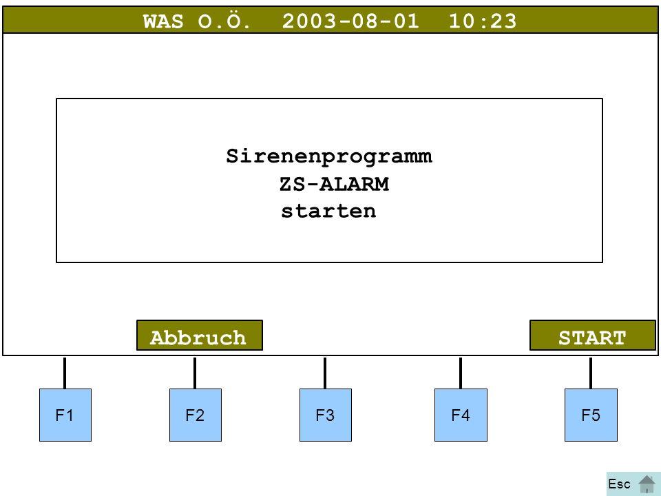 Bild 14 F1F2F3F4F5 STARTAbbruch WAS O.Ö.2003-08-01 10:23 Sirenenprogramm ZS-ALARM starten Esc