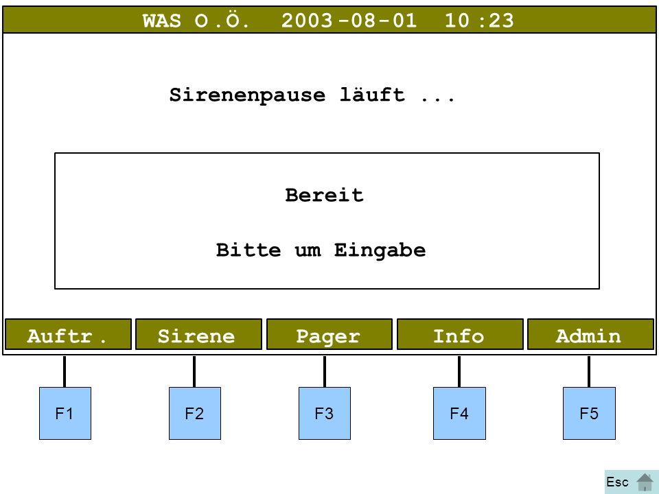 Bild 9 Alarm 1 AdminInfoPagerAuftr.Sirene WAS O.Ö.2003-08-01 10:23 Bereit Bitte um Eingabe Sirenenpause läuft... F1F2F3F4F5 Esc