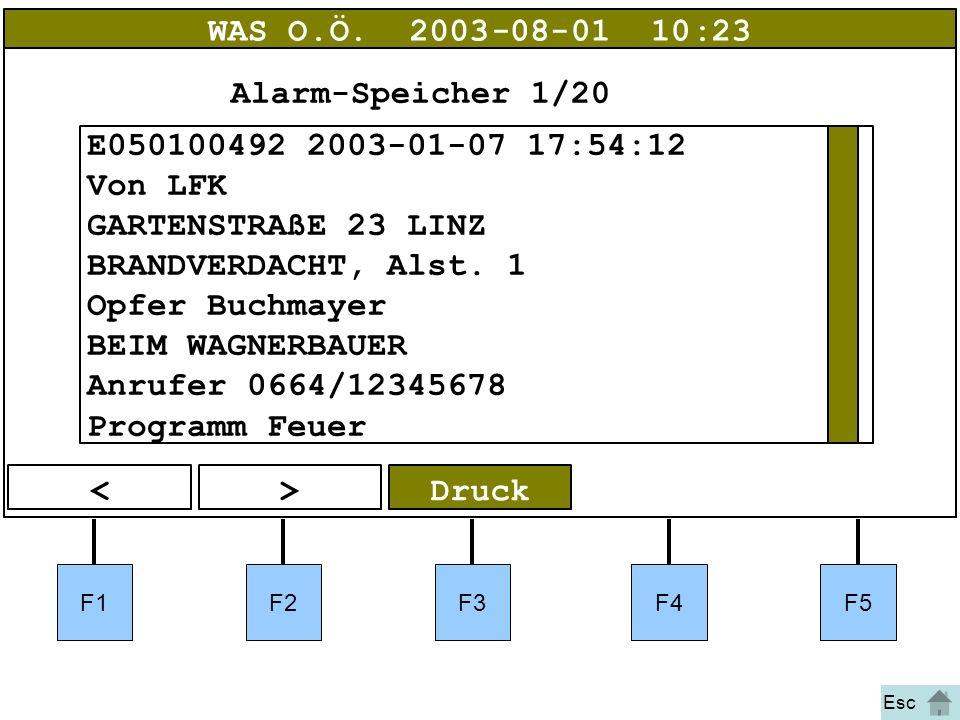 Bild 3 F1F2F3F4F5 Druck<> WAS O.Ö.2003-08-01 10:23 E050100492 2003-01-07 17:54:12 Von LFK GARTENSTRAßE 23 LINZ BRANDVERDACHT, Alst. 1 Opfer Buchmayer