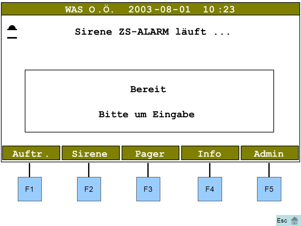 Bild 1 Alarm AdminInfoPagerAuftr.Sirene WAS O.Ö.2003-08-01 10:23 Bereit Bitte um Eingabe F1F2F3F4F5 Esc Sirene ZS-ALARM läuft...