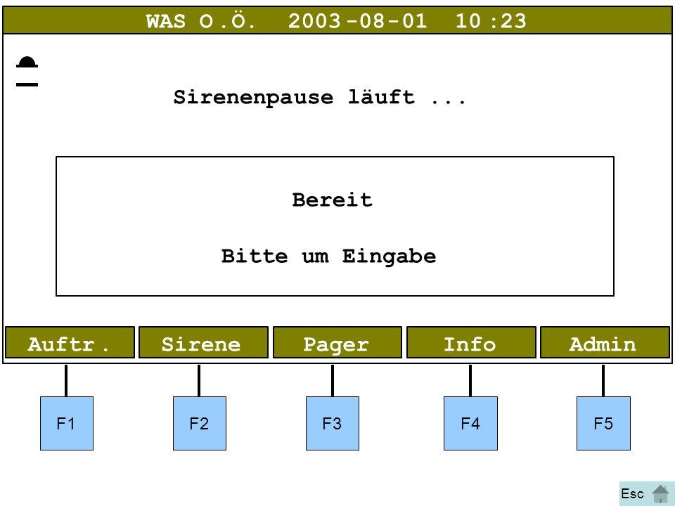 Bild 9 Alarm AdminInfoPagerAuftr.Sirene WAS O.Ö.2003-08-01 10:23 Bereit Bitte um Eingabe Sirenenpause läuft... F1F2F3F4F5 Esc
