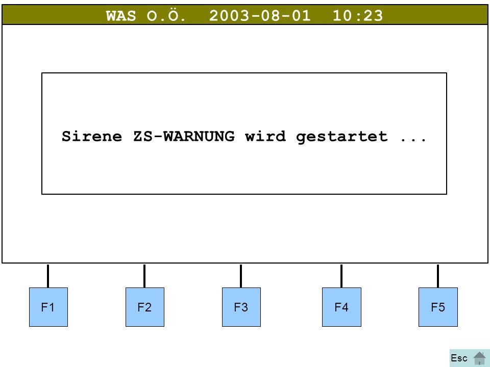 Bild 18 WAS O.Ö.2003-08-01 10:23 Sirene ZS-WARNUNG wird gestartet... Esc F1F2F3F4F5