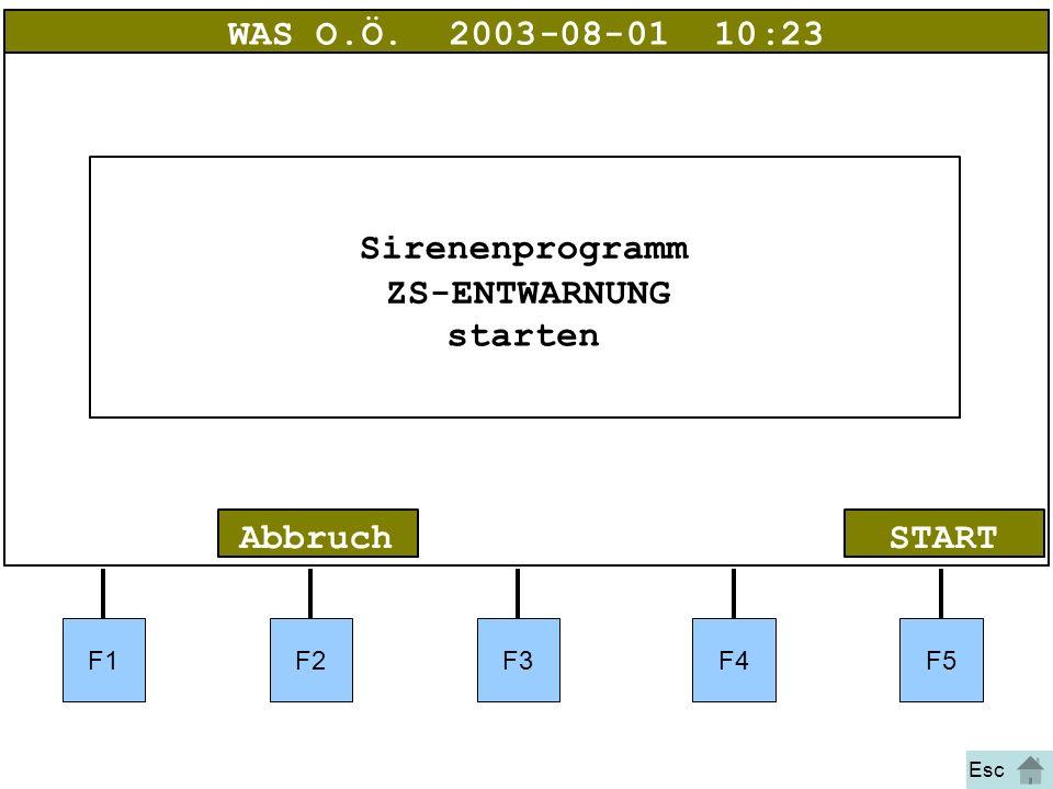 Bild 20 F1F2F3F4F5 STARTAbbruch WAS O.Ö.2003-08-01 10:23 Sirenenprogramm ZS-ENTWARNUNG starten Esc
