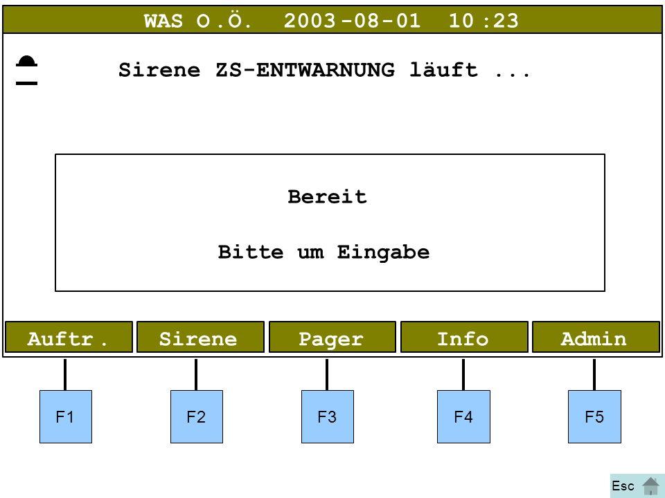 Bild 1 Entwarnung AdminInfoPagerAuftr.Sirene WAS O.Ö.2003-08-01 10:23 Bereit Bitte um Eingabe F1F2F3F4F5 Esc Sirene ZS-ENTWARNUNG läuft...