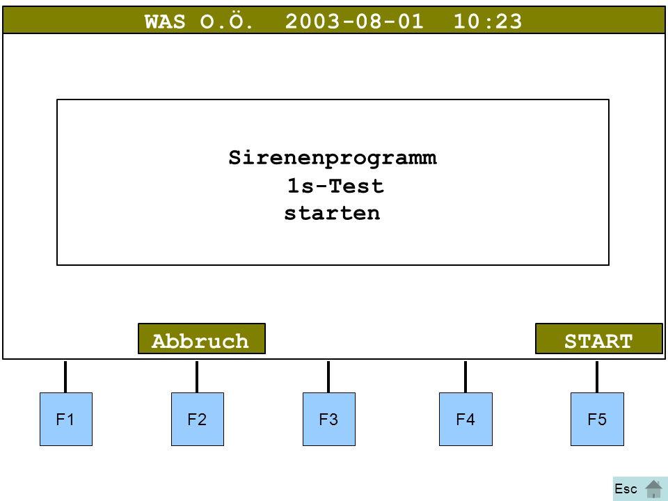 Bild 5 F1F2F3F4F5 STARTAbbruch WAS O.Ö.2003-08-01 10:23 Sirenenprogramm 1s-Test starten Esc