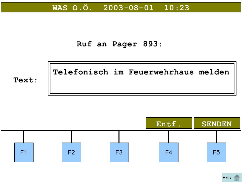 Bild 25 F1F2F3F4F5 SENDENEntf. WAS O.Ö.2003-08-01 10:23 Ruf an Pager893: Text: Esc Telefonisch im Feuerwehrhaus melden