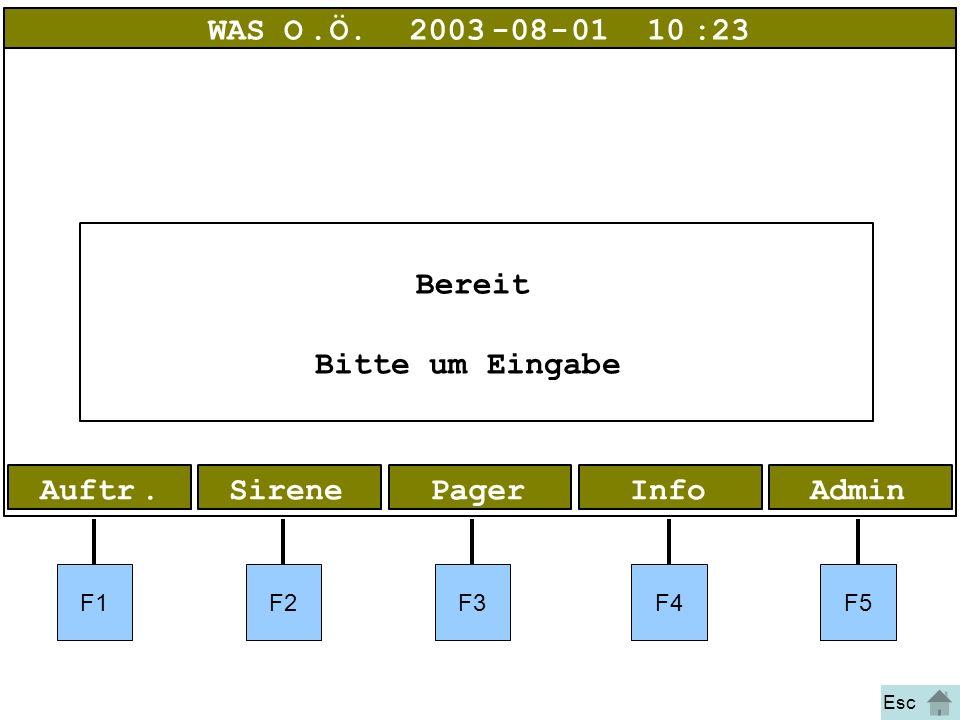 Bild 1 Pager AdminInfoPagerAuftr.Sirene WAS O.Ö.2003-08-01 10:23 Bereit Bitte um Eingabe F1F2F3F4F5 Esc