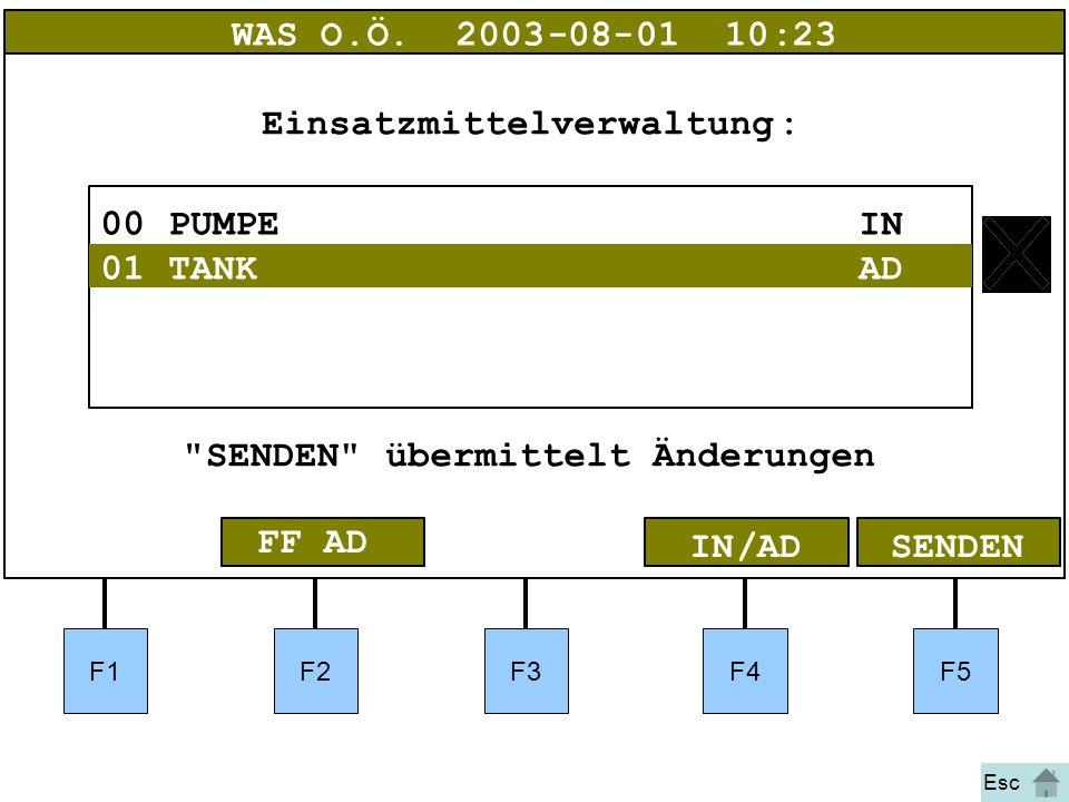 Bild 36bIA F1F2F3F4F5 01Bergeschere AD SENDENIN/AD WAS O.Ö.2003-08-01 10:23 00PUMPE IN Einsatzmittelverwaltung: SENDEN übermittelt Änderungen 01TANK AD FF AD Esc
