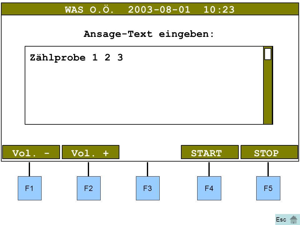 Bild 40 Vol. + WAS O.Ö.2003-08-01 10:23 Ansage-Text eingeben: Zählprobe 1 2 3 F1F2F3F4F5 STOPSTART Vol. - Esc