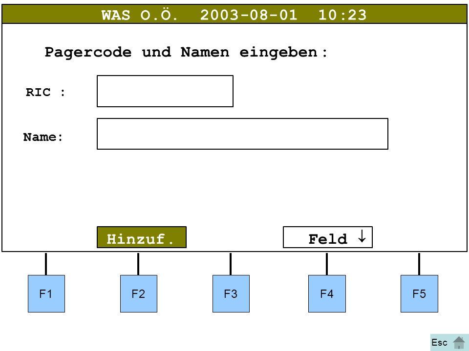 Bild 43a Hinzuf. WAS O.Ö.2003-08-01 10:23 RIC: Name: Pagercode und Namen eingeben:  Feld  F1F2F3F4F5 Esc